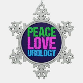 Urologist Peace Love Urology Snowflake Pewter Christmas Ornament