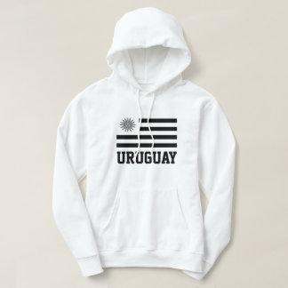 Uruguay Flag Black&White Customizable Black Text Hoodie