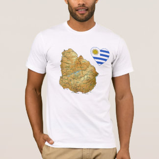 Uruguay Flag Heart and Map T-Shirt