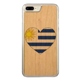 Uruguay Flag Heart Carved iPhone 7 Plus Case