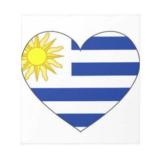 Uruguay Flag Heart Notepad
