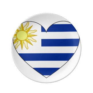 Uruguay Flag Heart Plate