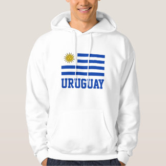 Uruguay Flag With Customizable Blue Text Hoodie