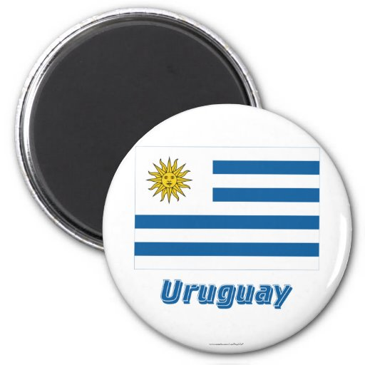 Uruguay Flag with Name Refrigerator Magnet