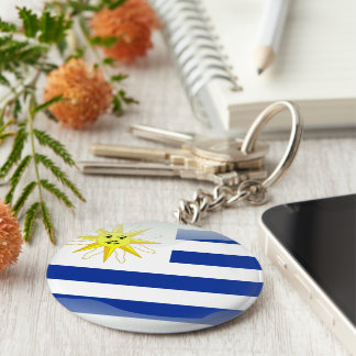 Uruguay glossy flag basic round button key ring