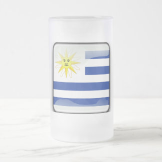 Uruguay glossy flag frosted glass beer mug