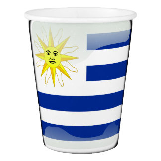 Uruguay glossy flag paper cup