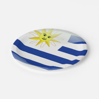 Uruguay glossy flag paper plate