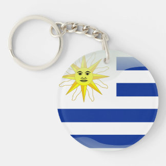 Uruguay glossy flag Single-Sided round acrylic key ring