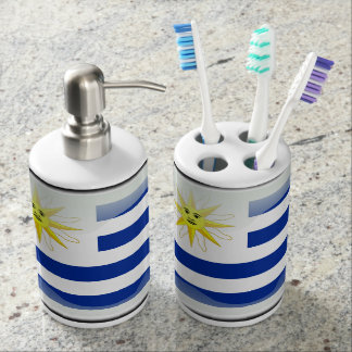 Uruguay glossy flag soap dispenser and toothbrush holder