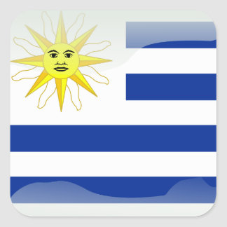Uruguay glossy flag square sticker