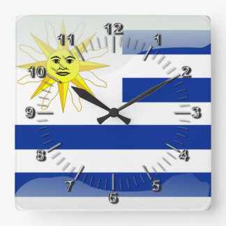 Uruguay glossy flag square wall clock