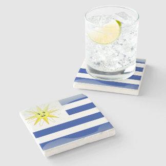 Uruguay glossy flag stone beverage coaster
