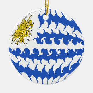 Uruguay Gnarly Flag Christmas Ornament