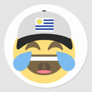 Uruguay Hat Laughing Emoji Classic Round Sticker