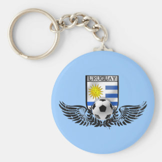 Uruguay soccer football emblem Uruguayan flag Basic Round Button Key Ring
