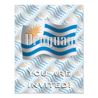 Uruguay Waving Flag 11 Cm X 14 Cm Invitation Card