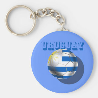 Uruguayan flag of Uruguay logo futbol soccer love Basic Round Button Key Ring