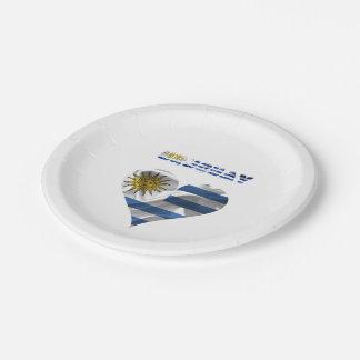 Uruguayan flag paper plate