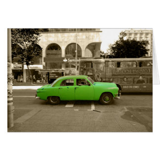 Uruguayan old green car card