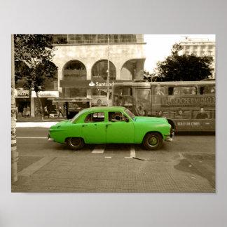 Uruguayan old green car poster
