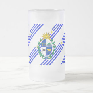 Uruguayan stripes flag frosted glass beer mug