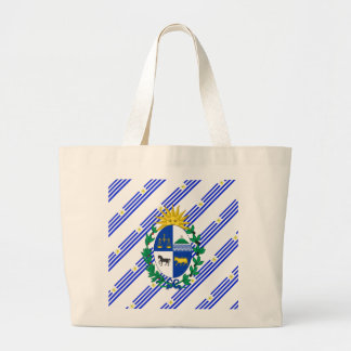 Uruguayan stripes flag large tote bag