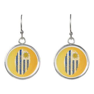 Uruguayan touch fingerprint flag earrings