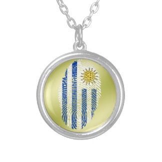 Uruguayan touch fingerprint flag silver plated necklace
