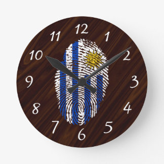 Uruguayan touch fingerprint flag wall clock