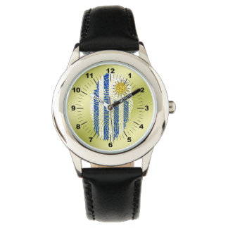 Uruguayan touch fingerprint flag wristwatch