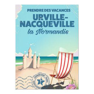 Urville-Nacqueville Normandy beach travel poster 17 Cm X 22 Cm Invitation Card