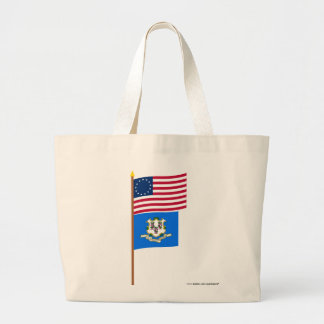 US 13-star flag on pole with Connecticut Jumbo Tote Bag