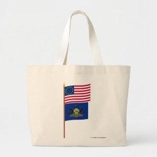 US 13-star flag on pole with Pennsylvania Jumbo Tote Bag