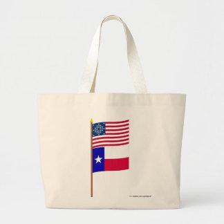 US 28-star Diamond pattern flag on pole with Texas Jumbo Tote Bag