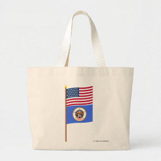 US 32-star flag on pole with Minnesota Tote Bags