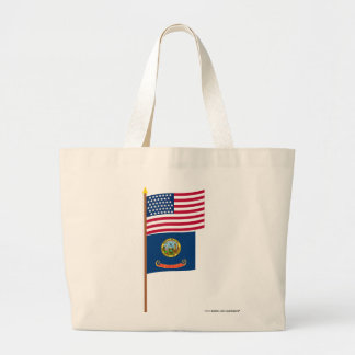 US 43-star flag on pole with Idaho Jumbo Tote Bag