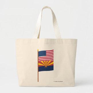 US 48-star flag on pole with Arizona Jumbo Tote Bag