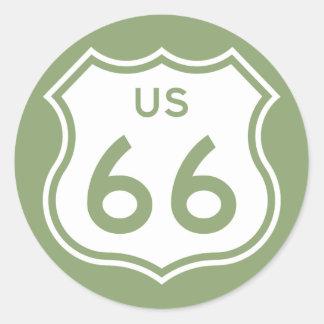 US 66 CLASSIC ROUND STICKER