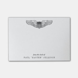 US Air Force Pilot Wings with Custom Name Text Post-it® Notes