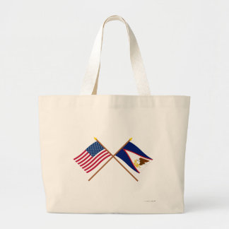 US and American Samoa Crossed Flags Canvas Bag