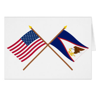 US and American Samoa Crossed Flags Greeting Card