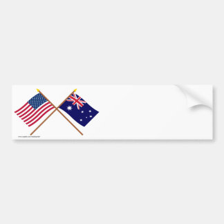 US and Australia Crossed Flags Bumper Stickers