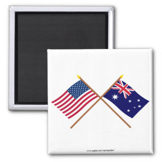 US and Australia Crossed Flags Square Magnet