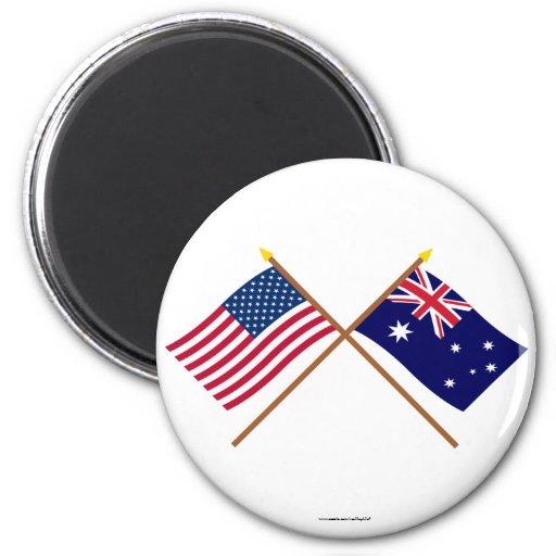 US and Australia Crossed Flags Fridge Magnets
