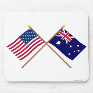 US and Australia Crossed Flags Mouse Pad