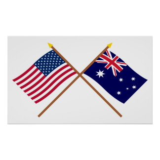 US and Australia Crossed Flags Posters