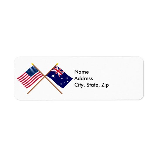 US and Australia Crossed Flags Return Address Label