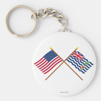 US and BIOT Crossed Flags Key Chain