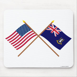 US and British Virgin Islands Crossed Flags Mouse Pad